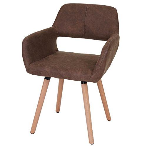 Chaise de Salle à Manger HWC-A50 II, Fauteuil, Design rétro des années 50 - Tissu, Marron