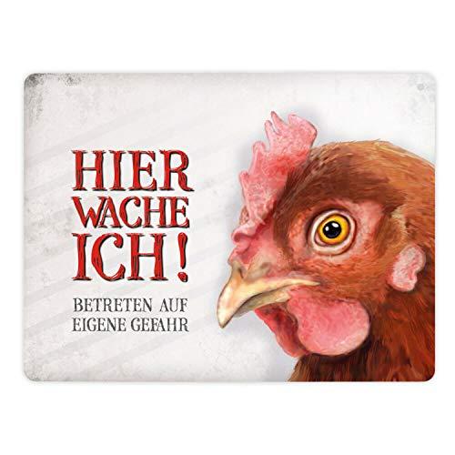 Metallschild XL mit Huhn Motiv und Spruch: Betreten auf eigene Gefahr - Hier wache ich!