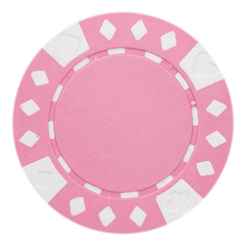 Brybelly Diamond Suited Poker Chips Versatile 11.5-Gram Clay Composite – Pack of 50 (Pink)