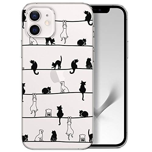 Handyhülle kompatibel mit iPhone 12/12 Pro Hülle transparent Muster dünn Slim Bumper Silikon Schutzhülle durchsichtig Hülle mit Motiv Katzen Frühling