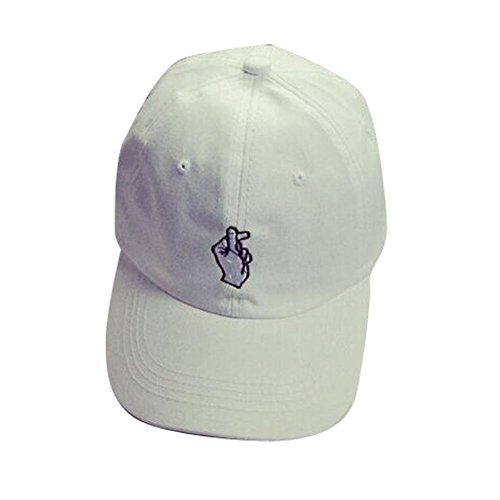 Amlaiworld Mode Mützen Caps Einstellbarer Hiphop Finger Sun Baseballkappen (weiß)