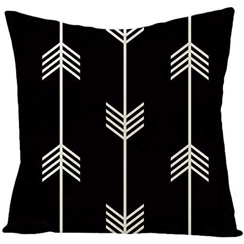 ANAZOZ Funda Cojines 50x50,Fundas Cojines Decorativos Negro Blanco,Patrón de Flechas Funda de Cojin de Lino Fundas Cojines Sin Relleno