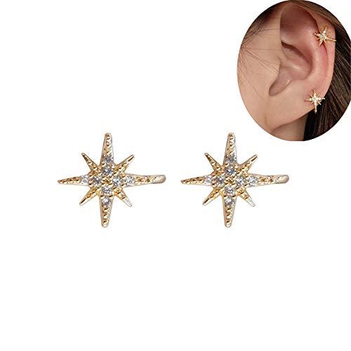 HOMEYU Zirconia cúbica Twinkle Star de 14 Quilates chapada en Oro y Pendientes de puño de Perla Clip de cartílago Falso no perforante Ajustable (1 par)