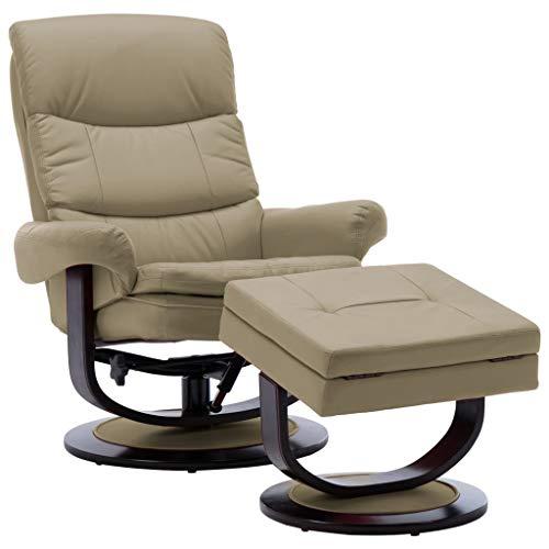 vidaXL - Sillón reclinable de madera con reposapiés, silla de relax, sillón de relax, sillón de descanso, sillón acolchado, silla de salón, sillón de piel sintética, color marrón