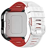 Pluschic Compatible with Garmin Forerunner 920XT Band Replacement Silicone Wristband for Garmin 920XT (Red-White)