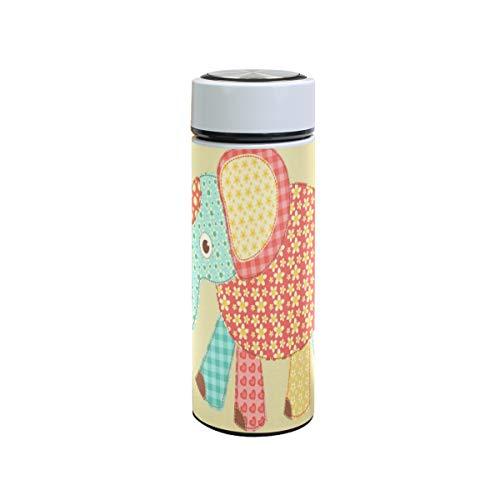 XiangHeFu houdt koude of warme thermoskan koffie lekvrij sportreisbeker Little Flower olifant waterfles 12 oz