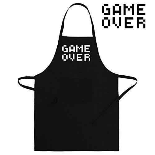 Delantal divertido y original. Parodia video juegos. Game Over. Regalo friki (60x90cm, negro)