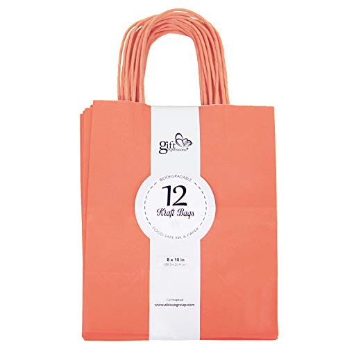 12CT Medium Lavender Biodegradable, Food Safe Ink & Paper, Premium Quality Paper (Sturdy & Thicker), Kraft Bag with Colored Sturdy Handle