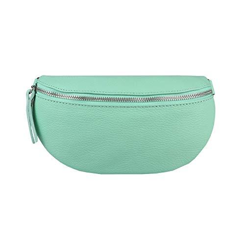 Made in Italy OBC - Riñonera de piel para mujer, estilo crossbody Verde turquesa ca.: 22x13x5 cm (BxHxT)