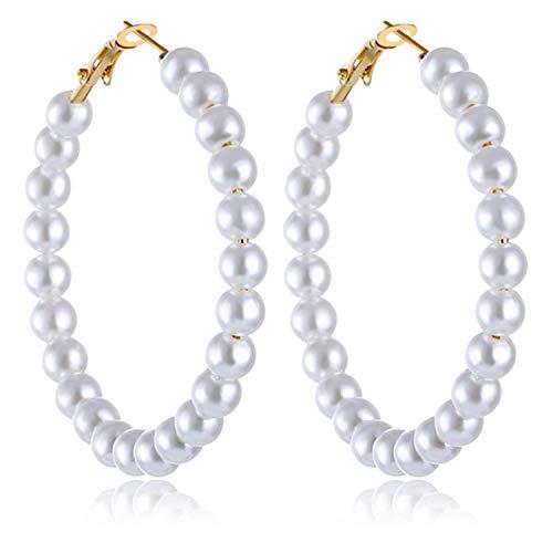 Pearl Hoop Earrings for Women Fashion Dangle Hypoallergenic Earrings Drop Dangle Earrings Gifts for Women Gold pearl hoop 55mm
