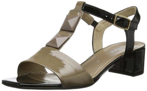 Gabor Shoes Damen T-Spangen Sandalen, Beige (Taupe/schwarz), 39 EU