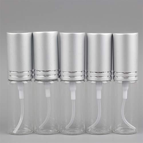 FIRMLEILEI 5 Piezas/Lote 5 ml 10 ml Mini Botella de Perfume de Cristal Colorido portátil con atomizador de Aluminio recipientes cosméticos vacíos para Viajes Botella contenedor