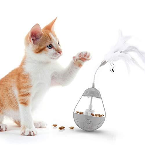 DADYPET Juguetes para Gatos Interactivos de Plumas, Pelota Dispensadora de Comida para...