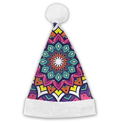 Bag hat Vektor-Mandala-Verzierung, Blumenmandala-Weihnachtsmütze, Unisex, weißer Pelz-Ordnung, Qualitätsweihnachtshut, Weihnachtsmann-Hut 2PCS