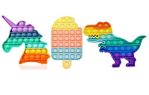 RSL Little Heroes Pop it Juguete Antiestrés Sensorial de Explotar Burbujas Push Bubble Fidget Toy Herramientas para aliviar el estrés y la ansiedad para niños y Adultos (Unicornio+Helado+Dino)
