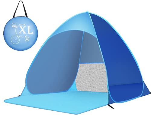 Zenoplige Pop Up Tent, Beach Camping Tent Foldable Outdoor Lightweight Waterproof Tent as Sun Shelter Family and Dog on Garden, Beach