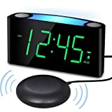 Vibrating Loud Alarm Clock with Bed Shaker for Heavy Sleepers Deaf Senior Kids, Large Number LED Display with Dimmer|Night Light|USB Phone Charger|Battery Backup, Easy Set Digital Bedroom Travel Clock