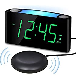 Extra Loud Vibrating Alarm Clock with Bed Shaker for Heavy Sleeper Deaf Hard of Hearing, Large LED Display Digital Clock for Bedroom,Dimmer,Night Light,USB Phone Charger,Battery Backup,Senior Teen Kid