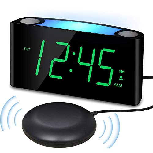 Vibrating Loud Alarm Clock with Bed Shaker for Heavy Sleepers Deaf Senior Kids, Large Number LED...