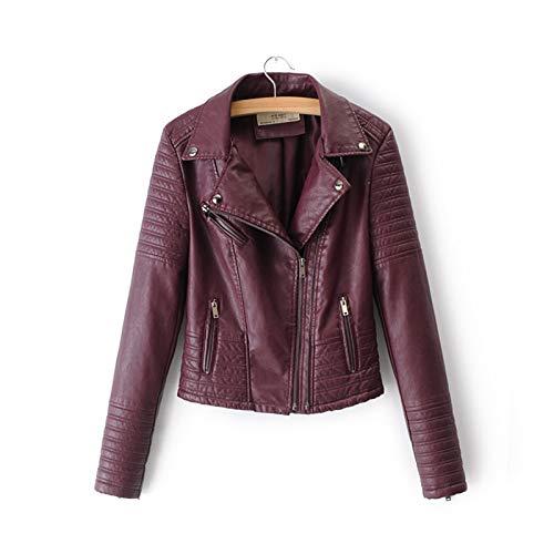 AQHXLS Chaquetas para mujer, chaquetas de piel sintética para motocicleta, de manga larga, para otoño e invierno, chaqueta de calle negra y rosa cómoda (color: rojo vino, tamaño: XL)