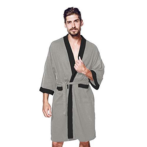 MRULIC Herren Morgenmantel 3/4 Ärmel Bademantel Kimono Baumwolle Saunamantel Robe Negligee Mit V-Ausschnitt Gürtel(Dunkelgrau,S)