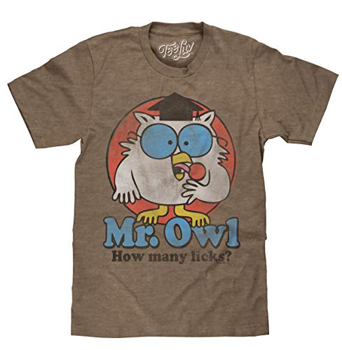 """Mr. Owl """"How Many Licks?"""" Licensed T-Shirt-XX-Large Heather Brown"""