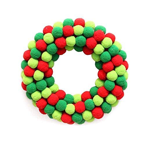 QBJMY 2021 decoraciones de Navidad calientes con guirnalda de Navidad creativa con luz LED de fieltro corona de bola de centro comercial, hotel colgante de Navidad (color verde)