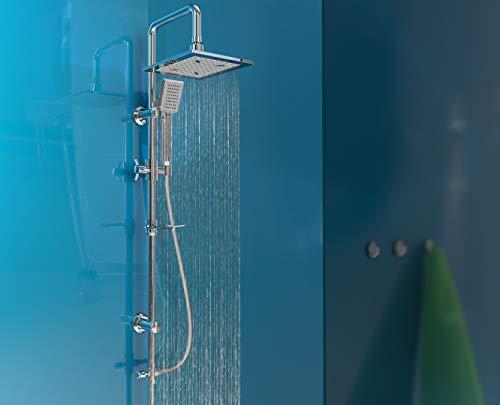 EISL Duschset EASY COOL, Duschsäule 2 in 1 mit großer Regendusche(22 x 19 cm) und Handbrause, ideal zum Nachrüsten durch Nutzung vorhandener Bohrlöcher, DX12007, Chrom