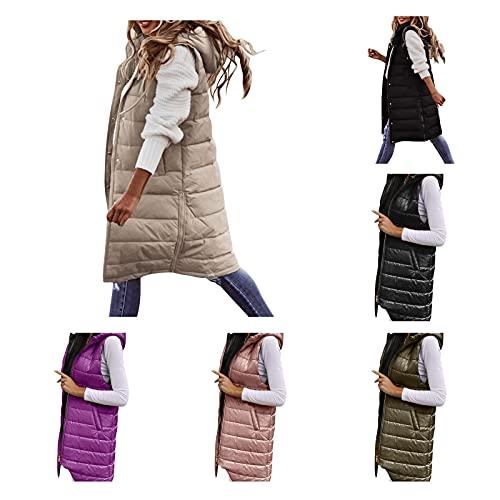 Giacca invernale lunga da donna con cappuccio, trapuntata, invernale, sottile, con tasche, invernale, leggera, a tinta unita, senza maniche, giacca lunga, antivento, giacca lunga, Colore: rosa., XL