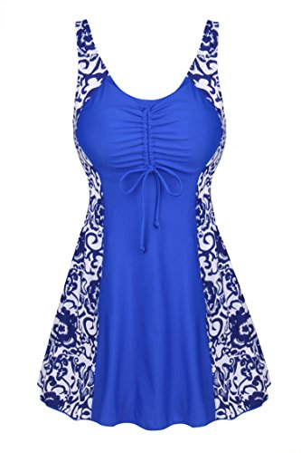 Uhnice Women's Plus Size One Piece Swimdress Skirted Swimsuit Bathing Suits (Small(US4-6), Blue)