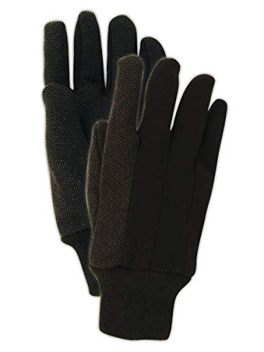 Magid Safety T92P MultiMaster Glove | PVC Dotted Jersey Gloves - Large, Dark Brown (12 Pairs)