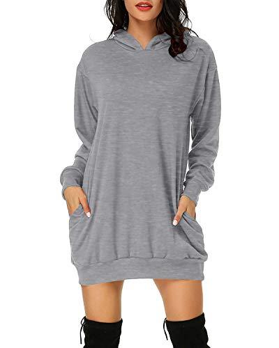 Cassiecy Damen Hoodie Kleid Pullover Langarm Sweatshirts Kapuzenpullover Tops Herbst Mini Kleid (grau, XXL)