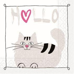 Sovie Home Serviette Moritz/Tissue-Servietten 33x33 cm/saugstarke und hochwertige Einweg-Servietten/ideal für Geburtstage & Feiern/Katze (Pink)