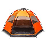 BornTech 1 Minute Instant Easy Setup Pop Up Camping Tent Light Weight Backpacking Tent Waterproof Windproof for Camping, Hiking, Outdoor Festivals, Beach (Orange, 6 Person)