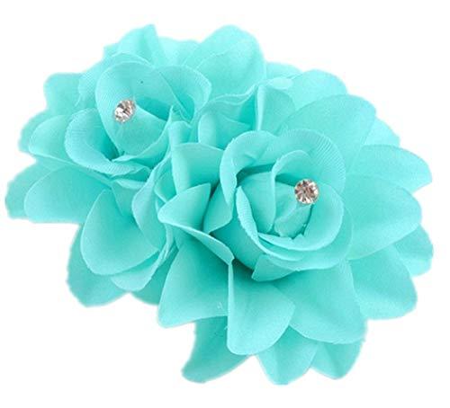 Plus Nao(プラスナオ) ヘアクリップ ヘアピン ヘアアクセサリー ヘッドドレス コサージュ フラワーモチーフ お花 髪飾り 髪留め レディース - アクアブルー