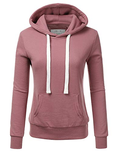 Doublju Basic Lightweight Pullover Hoodie Sweatshirt for Women BEGONIAPINK Large