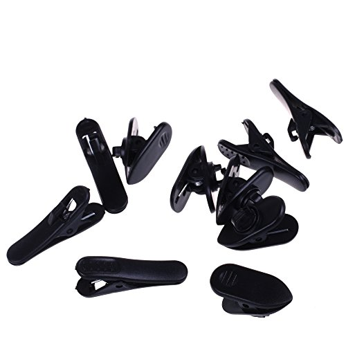 BCP Black Color 5pcs Cord Clip Holder+5pcs Rotate Mount Headphone Headset Cable Cord Clip Holder- Clips onto Your Clothing to Keep Earphone/Microphone Cord in Place