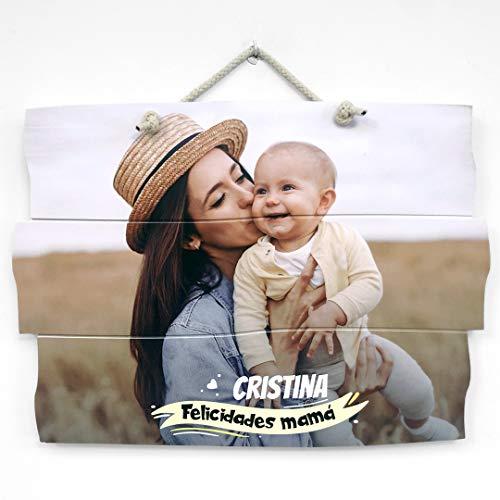 Cuadro personalizado con foto, impresión foto en madera natural con texto para el día de la madre. Regalos personalizados. (60x44 cm.)