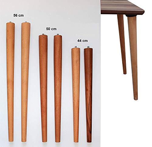 4er Set Holz Tischbeine aus massivem Naturholz - perfekt geeignet für Esstisch, Couchtisch, Schreibtisch & mehr - Verschiedene Größen (Buche Natur, S 44 cm)