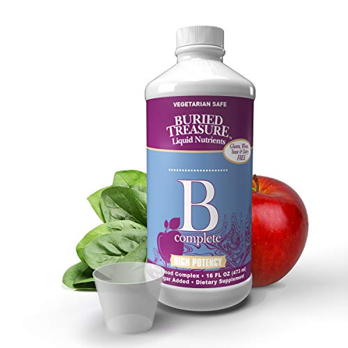 Buried Treasure B Complete High Potency All B Vitamins Liquid Supplement for Stress, Energy and Healthy Immune Support Vegan Non-GMO, 16 oz w/ Dose Cup