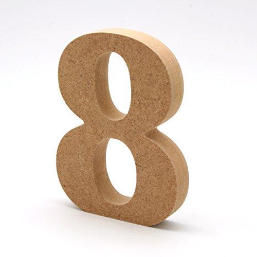 Números de madera. Números grandes de madera DM de 20cm de alto para decoración y manualidades (8)
