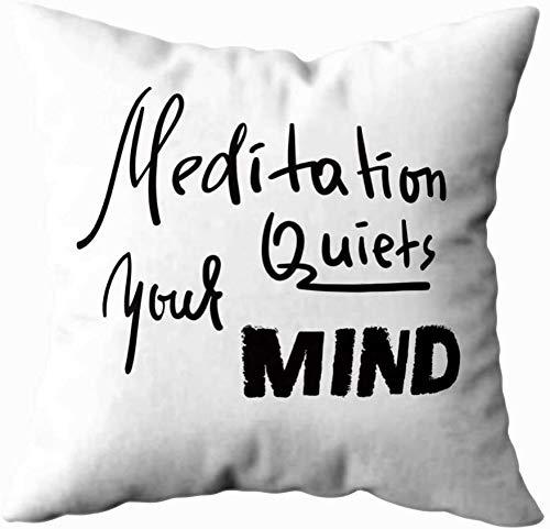 Funda de almohada para el hogar, 50 x 50 cm, meditación de tu mente, inspira y motivacional, fundas de almohada con cremallera, fundas de cojín para sofá, Halloween, día de Navidad, color gris y negro