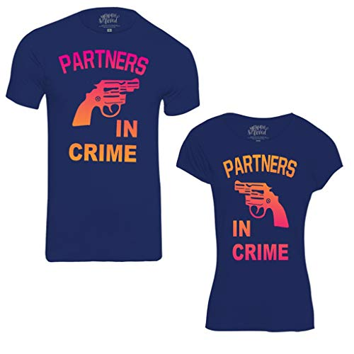 Bon Organik Partners in Crime Dad & Daughter Tees Best Family Matching Dad and Daughter Tshirts Cotton T-Shirt Set for Father and Daughter(Pack of 2) ((BON1733-HT-NB-MG32 Dad XL -Daughter 2-4Y) Blue