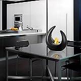 YQZ Chimenea de bioetanol de cerámica, Chimenea de Mesa portátil de combustión Limpia, Calentadores de Mesa para Interiores y Exteriores,Negro
