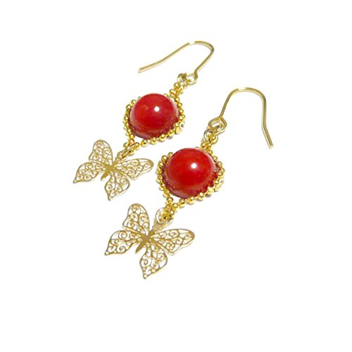 【 ふわり バタフライ 】 赤珊瑚 と 軽やかな 蝶 の ピアス ・ ゴールド トーン