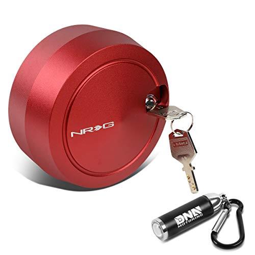 NRG Innovations SRK-201RD Universal Free Spining Cover Quick Release Hub Lock w/ 2 Keys + LED Keychain Flashlight