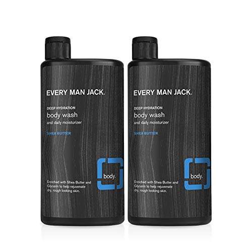 Every Man Jack Men's Body Wash - Shea Butter | 16.9-ounce Twin Pack - 2 Bottles Included | Naturally Derived, Parabens-free, Pthalate-free, Dye-free, and Certified Cruelty Free