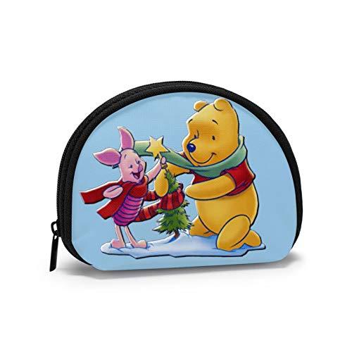 Winnie The Pooh Ayuda al Cerdito a Decorar el árbol de Navidad Mini Monedero para Mujer Almacenamiento de Billetes Zpper Security