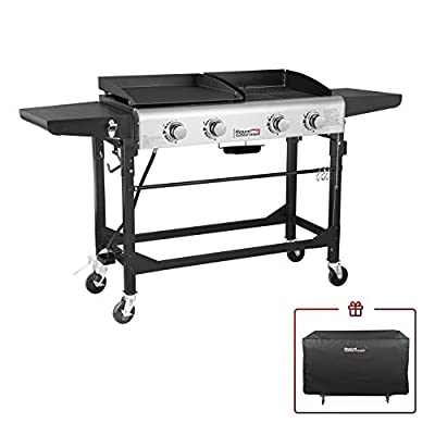 Royal Gourmet GD401C 4-Burner Portable Propane Flat Top Gas Grill and Griddle Combo, Black