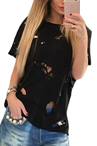Camiseta Túnica Manga Corta con Agujeros Rasgados Top Blusa De Verano para Mujer Negro L